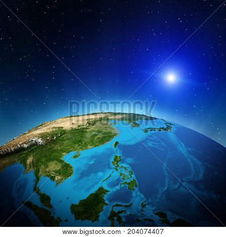 Oceania and South-East Asia from space. Elements of this image furnished by NASA 3d rendering