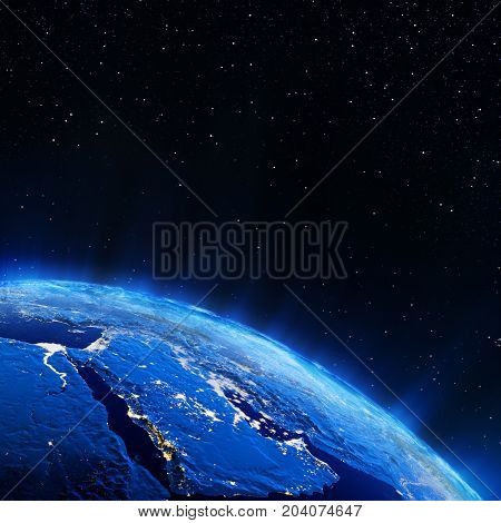 Middle East city lights. Elements of this image furnished by NASA 3d rendering