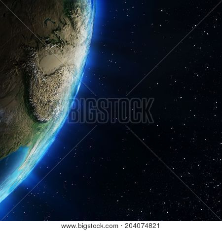 Asia stratosphere topography. Elements of this image furnished by NASA 3d rendering