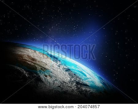 World map from space. Elements of this image furnished by NASA 3d rendering
