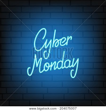 Cyber Monday. Neon script lettering Cyber Monday. Neon background for winter seasonal sale events