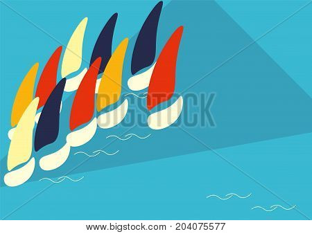 Vector Poster Template for Boat Race or Sailing Crew known as Yacht Regatta. Could also be used as teamwork or regatta team banner. Nautical sport competition or crew event geometric illustration.