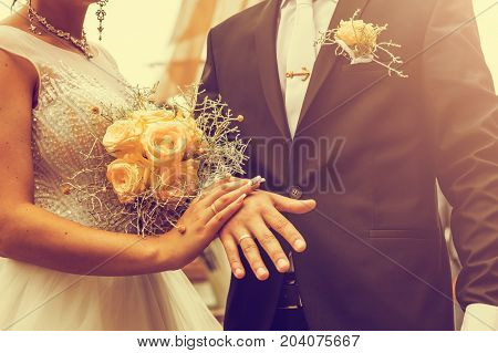 Newly Wed Couple's Hands With Wedding Rings. Vintage Tone