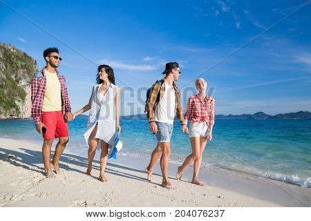Young People Group On Beach Summer Vacation, Two Couple Happy Smiling Friends Walking Seaside Sea Ocean Holiday Travel