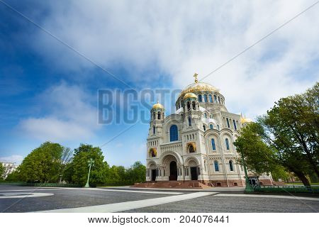 Kronstadt, Russia, the Naval cathedral of Saint Nicholas against cloudy sky