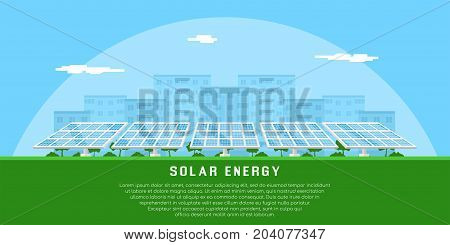 picture of solar batteries with city silhouette on background, flat style concept of renewable solar energy