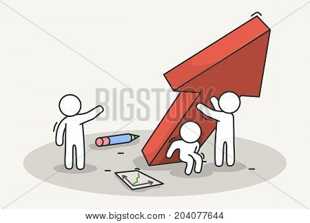 Little white people raise a red chart arrow. Teamwork and success concept. Hand drawn cartoon or sketch design. Vector illustration