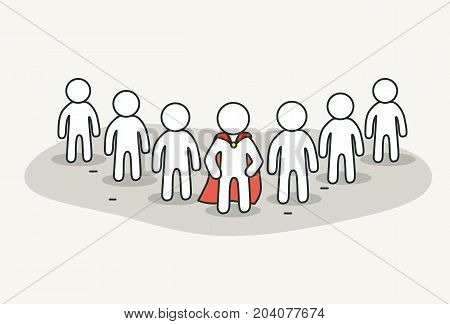 Little white people with superhero leader. Teamwork and leader concept. Hand drawn cartoon or sketch design. Vector illustration