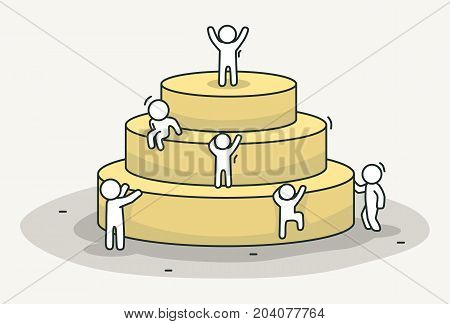 Little white people climb the pyramid. Leadership and success concept. Hand drawn cartoon or sketch design. Vector illustration