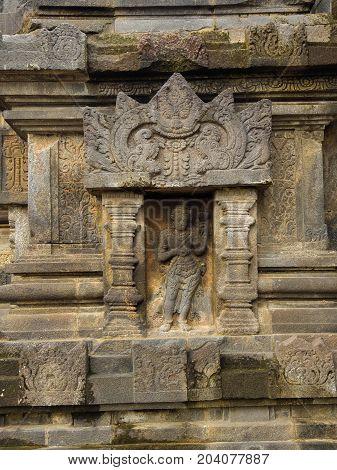 Detail of Makara of Candi Siwa Shiva Temple in Prambanan temple complex. 9th century Hindu temple compound located near Yogyakarta on Central Java, Indonesia.