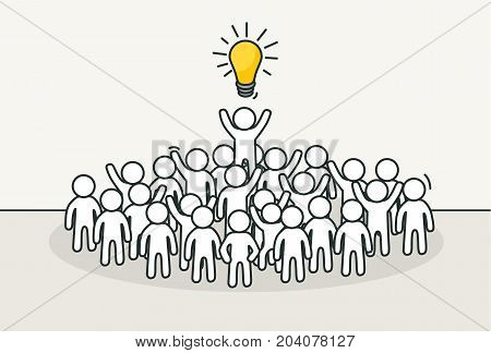 Little white people with creative leader. Creative idea, inspiration concept. Hand drawn cartoon or sketch design. Vector illustration