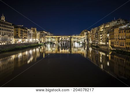 Night view of Ponte Vecchio in Florence