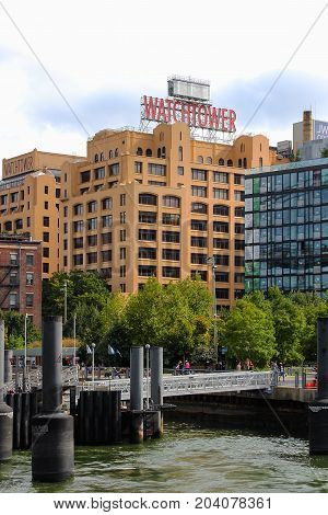 New York USA - 28 September 2016: The iconic Watchtower Building as seen from Pier 1 Dumbo in Brooklyn.