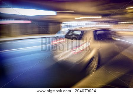 Car at full speed, blur selective, conceptual image
