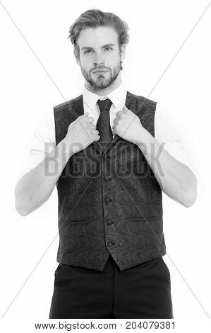 Gentleman Or Man Or Serious Gentleman In Waistcoat And Tie