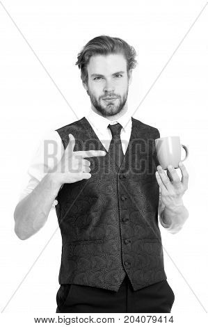 Elegant Man In Waistcoat With A Cup Of Coffee