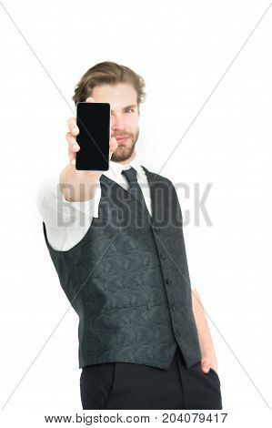 Man With Mobile Or Cell Phone.
