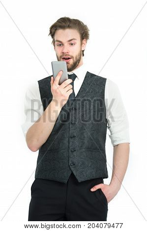 Businessman With Phone In Outfit Isolated On White Background.