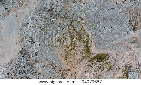 Bird's eye view of mountain top. Mala Mojstrovka, Julian Alps in Slovenia.