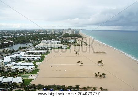 Sealine With Sand Beach In Fort Lauderdale, Usa
