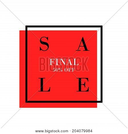 Mega Sale Banner Design, Special Offer Vector Graphic With Black Frame And Red Background. Final Sal