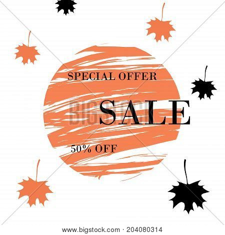Autumn Special offer sale 50 off fashion circle banner. Vector discount special offer with autumnal Leaffall orange and black maple on white background.