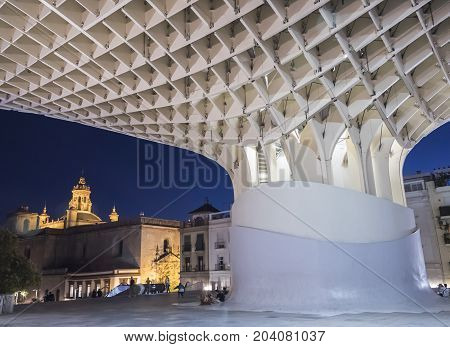 Sevilla, SPAIN - September 9,2017: View of Metropol Parasol Night , popularly called