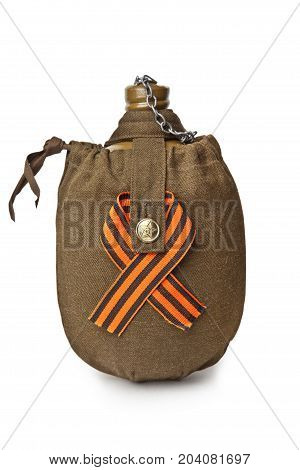 Military flask in the case with St. George's ribbon on white background