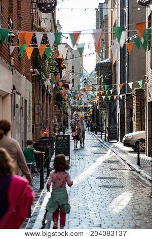 DUBLIN, IRELAND - AUGUST 31, 2017: View of City of Dublin Ireland