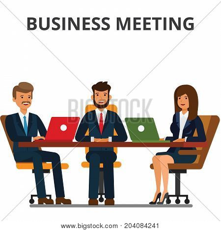 Business meeting. Businessmen and businesswoman sit at the table. Team work together, discussion, interviews, negotiations. Flat vector illustration isolated on white background.