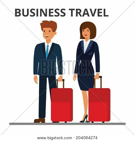 International business travel. Businessman and businesswoman with suitcase. Passengers with luggage. Flat vector illustration isolated on white background.