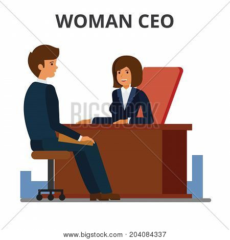 Woman ceo working with assistant. Female manager sitting at the desk and working at the computer. Businesswoman leadership. Business negotiation.