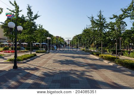 POMORIE BULGARIA - AUGUST 17 2017: Knyaz Boris I is a central street and a popular place in the old part of the seaside town of Pomorie.