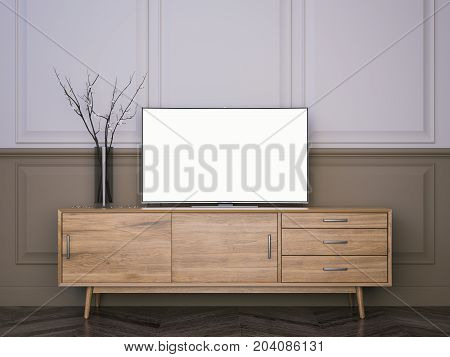 Wooden tv stand with flat LCD television in modern living room. 3d rendering