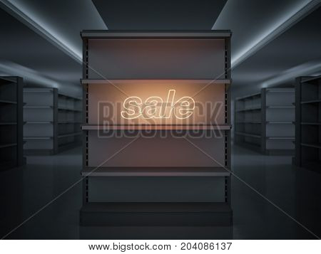 Empty shelves in a store with glowing sale sign. 3d rendering