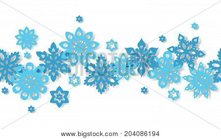 Seamless border snowflakes isolated on white background. Art vector illustration.