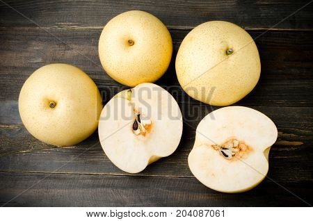 Fresh Asian pear fruit on wooden background,healthy fruit