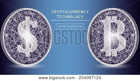Bitcoin digital currency vector icons and symbols. Crypto currency token coins with bitcoin and dollar symbols. Peer to peer network digital payment system. Blockchain concept.