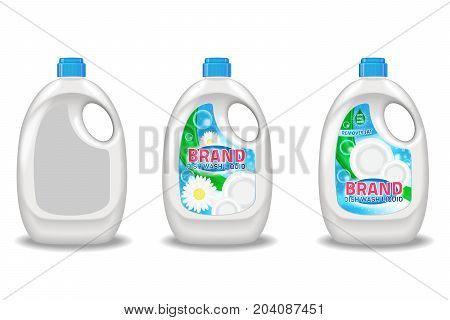 Dishwashing liquid products ad. Vector 3d illustration isolated on white background. Bottle template design. Dish wash brand bottle advertisement poster layout.