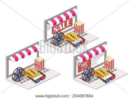 Cinema online 3d isometric vector illustration. Movie theater symbols popcorn, 3d glasses, tickets and film reel placed on laptop keyboard.