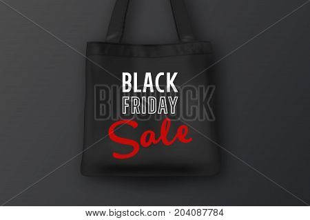 Realistic black textile tote bag with the inscription BLACK FRIDAY SALE. Closeup on black background. Design template for advertising, branding, mockup. Stock vector. EPS10 illustration.
