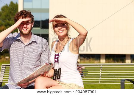 Tourist Couple In City Read Map