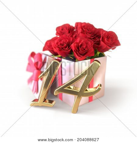birthday concept with red roses in gift isolated on white background. 3D render - fourteenth birthday. 14th