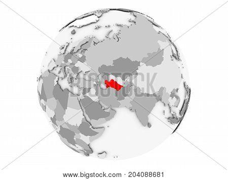 Turkmenistan On Grey Globe Isolated