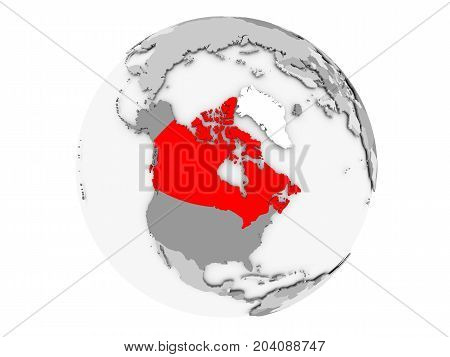 Canada On Grey Globe Isolated