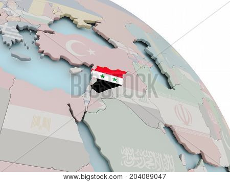 Map Of Syria With Flag