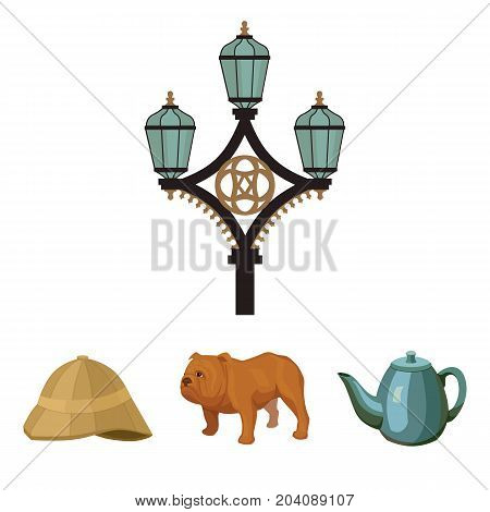 breed dog, teapot, brewer .England country set collection icons in cartoon style vector symbol stock illustration .