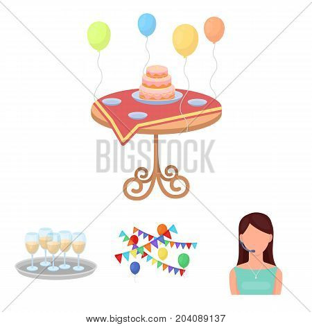 Garland with flags and balls, leading celebration with a microphone, a tray with glasses with champagne, a table covered with a tablecloth with plates, cake and balls. Event services set collection icons in cartoon style vector symbol stock illustration .