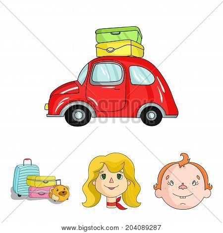 Camping, woman, boy, bag .Family holiday set collection icons in cartoon style vector symbol stock illustration .