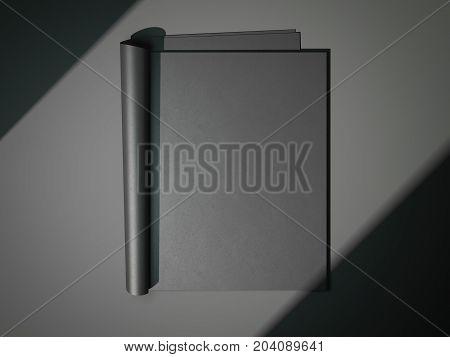 Black blank magazine on a dark floor. 3d rendering